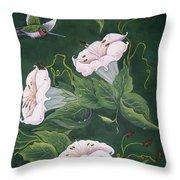 Hummingbird And Lilies Throw Pillow