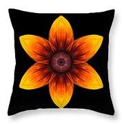Rudbeckia I Flower Mandala Throw Pillow
