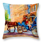 Rue Notre Dame Caleche Ride Throw Pillow