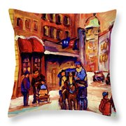 Rue St. Paul Old Montreal Streetscene In Winter Throw Pillow