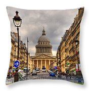 Rue Sufflot In Paris Throw Pillow