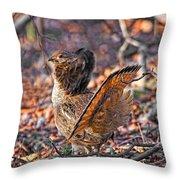 Ruffed Grouse Side Strut Throw Pillow