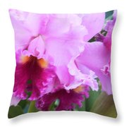 Ruffled Orchids Throw Pillow