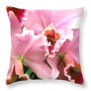 Ruffles And Flourishes Cattleya Orchids Throw Pillow