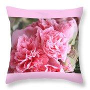 Ruffly Pink Hollyhock Throw Pillow