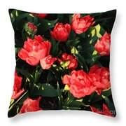 Ruffly Red Tulips Square Throw Pillow