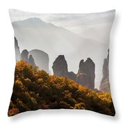 Rugged Cliffs And A Monastery  Meteora Throw Pillow
