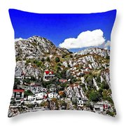 Rugged Cliffside Village Digital Painting Throw Pillow