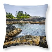 Rugged Coast Of Pacific Ocean On Vancouver Island Throw Pillow