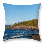Rugged Lake Superior Coastline Throw Pillow