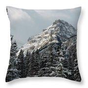 Rugged Mountain Peak With Snow Throw Pillow