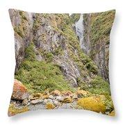 Rugged Mountain Wilderness Vegetation Throw Pillow