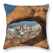 Rugged Peaks Through Mobius Throw Pillow