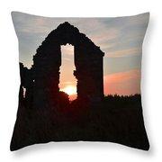 Ruin Of A Hunting Lodge Near Lough Easkey In County Sligo Ireland Throw Pillow