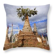 Ruined Pagodas At Shwe Inn Thein Paya Throw Pillow