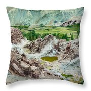 Ruins At Basgo Monastery Ladakh India Throw Pillow