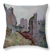 Ruins In The Fog At Crozant Throw Pillow by Jean Baptiste Armand Guillaumin