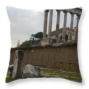 Ruins In The Roman Forum Rome Italy Throw Pillow