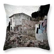 Ruins Of An Abandoned Farm House Throw Pillow