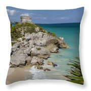 Ruins Of Mayan Temple Throw Pillow