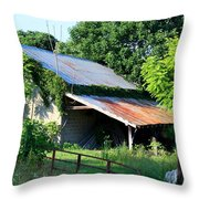 Ruins Of Old Garage Throw Pillow