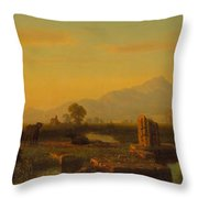 Ruins Of Paestum Throw Pillow by Albert Bierstadt