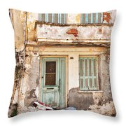 Run-down Building In Rethymnon Throw Pillow