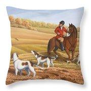 Run Fox Run Hunting Painting Commission Throw Pillow