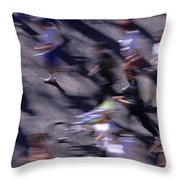 Runners Along Street In A Marathon Blurred And Abstract Throw Pillow
