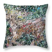 Running Beauty - Oil Painting Portrait Throw Pillow