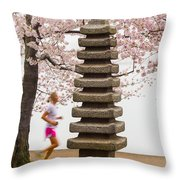 Running By The Tidal Basin Throw Pillow