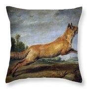 Running Fox Throw Pillow