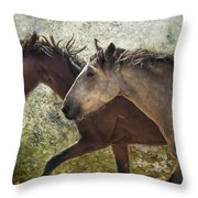 Running Free - Pryor Mustangs Throw Pillow