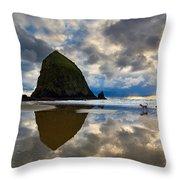 Running Free - Dogs Running In Beautiful Cannon Beach. Throw Pillow by Jamie Pham