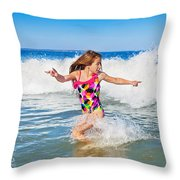 Running From The Waves Throw Pillow