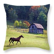 Running Horse And Old Barn Throw Pillow