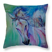 Running In Shades Of Pink And Blue Throw Pillow