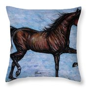 Running In The Blue Throw Pillow