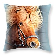 Running In The Fields, Waving My Golden Mane  Throw Pillow