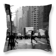 Running In The Rain - New York City Street Scene Throw Pillow