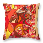 Running Of The Bulls Throw Pillow by Christopher Page
