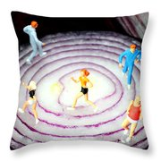 Running On Red Onion Little People On Food Throw Pillow