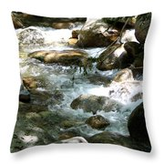 Running Over Rocks Throw Pillow