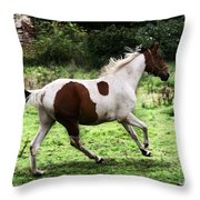 Running Pinto Horse Throw Pillow