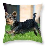 Running Puppy Throw Pillow