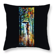 Running Towards Love - Palette Knife Oil Painting On Canvas By Leonid Afremov Throw Pillow