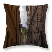 Running Up The Lane Throw Pillow