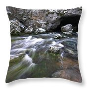 Running Water Cave Throw Pillow