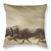 Running Wildebeest I Throw Pillow