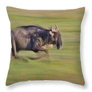 Running Wildebeest IIi Throw Pillow